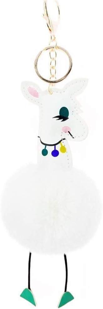 MEIDI Home Decoración Cuero de la PU Jirafa Peluche con Forma de Bola Llavero Colgante de Dibujos Animados Muñeco de Peluche Llavero Llavero (Blanco) Bonito Llavero
