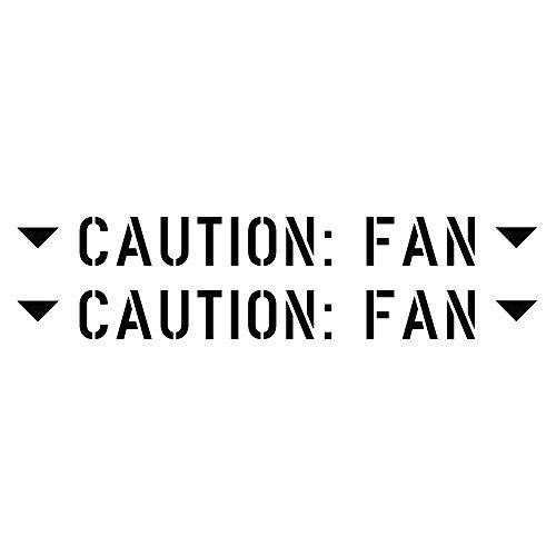 - Auto Vynamics - MILSPEC-CAUTIONFAN-GBLA - Gloss Black Vinyl Caution: Fan Decal w/ Arrows - Matching Pair - (2) Piece Kit - 6.25-by-0.625-inches