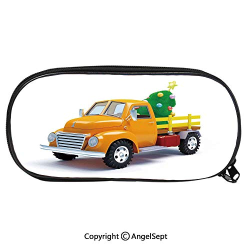 Kid School Pencil BagYellow Vintage Truck and Decorated Tree with Star Topper Old Farm Motor Cute Printing Pen Case Adult Office Accessories Pencil HoldersWhite Yellow Green