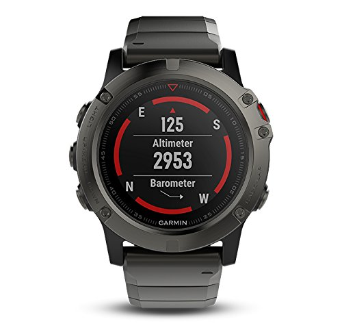 Garmin fenix 5X Sapphire (Slate Gray with Metal Band) Bundle with Extra Band, Screen Protector, PlayBetter Portable Charger & Protective Hard Case | Multi Sport GPS, TOPO Maps/Navigation, On Wrist HR