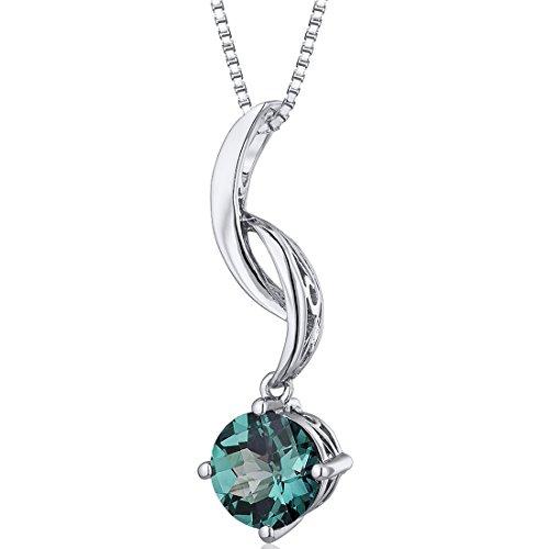 Gemstone Alexandrite Necklaces Pendants - Simulated Alexandrite Drop Pendant Necklace Sterling Silver 1.75 Carats