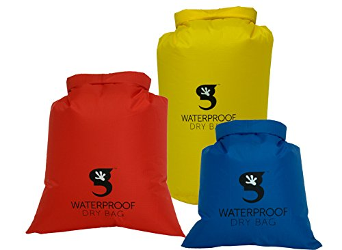 geckobrands Lightweight Compression Dry Bags Assorted 3 Pack, Red/Blue/Yellow