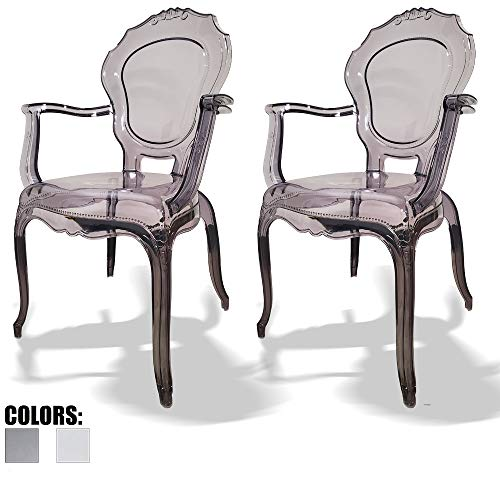 2xhome – Set of Two 2 – Belle Style Ghost Chair Ghost Armchairs Dining Room Chairs – Smoke Armchairs Lounge Chairs Seats Higher Fine Modern Designer Artistic Classic Mold