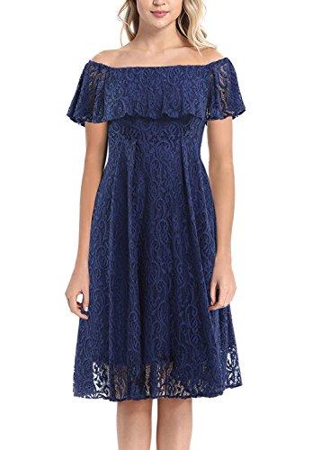 (Arolina Womens 1950's Vintage Floral Lace Retro Party Cocktail Formal Off Shoulder Swing Dresses (Navy Blue,Large))