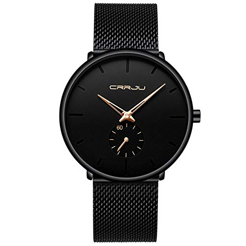 - Unisex Minimalist Quartz Analog Men's Watch Fashion Casual Stainless Steel Mesh Band Gold