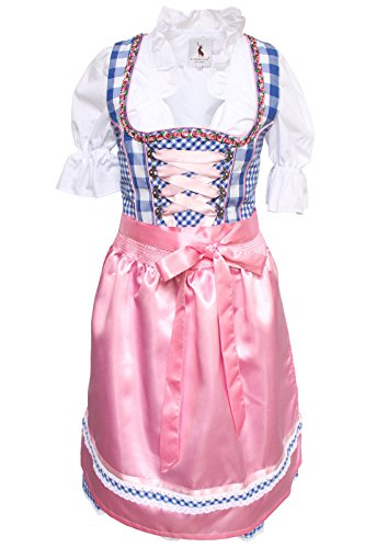 Alpenmärchen, 3tlg. Dirndl-Set - Trachtenkleid, Bluse, Schürze, Gr.48, blau-rosa, ALM3062