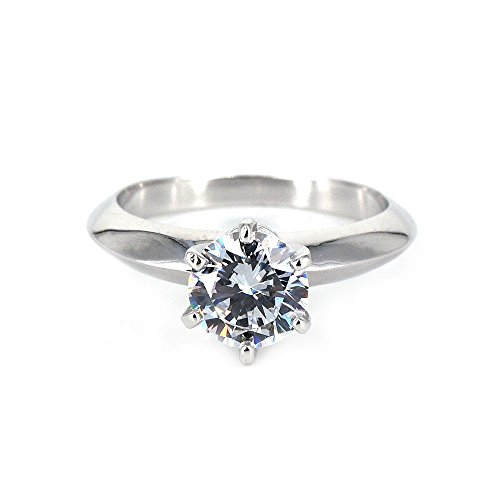 Edge Engagement Ring Setting - espere Platinum Plated Sterling Silver Round Cut 2ct Solitaire Engagement Ring 6 Prongs