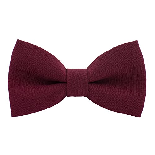 Classic Pre-Tied Bow Tie Formal Solid Tuxedo, by Bow Tie House (Medium, Dark Red)