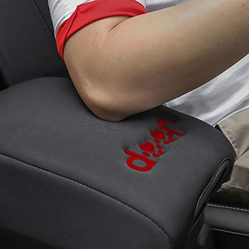 QUBC Center Console Cover for Jeep JL Console Cover Jeep Accessories Jeep Armrest Cover with Bagless for All 2018 2019 Jeep Wrangler JL with Dog Paw Paws Logo (Red)