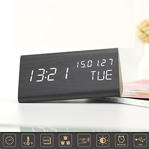 Triangle Black Clock (TRADE Triangle Wooden LED Alarm Clock, Modern Design Voice Actived Digital Desk Clock with Time Temperature Week Display & 3 Level Brightness Adjustment Bedside Wood Clock for Home Office)