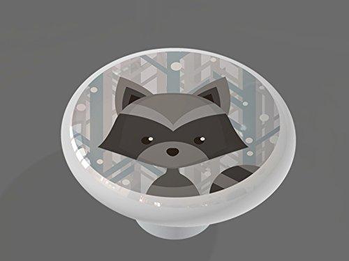 Winter Woodland Raccoon High Gloss Ceramic Drawer Knob