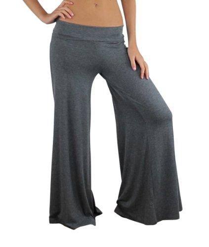 Long Super Low Rise Pant - Free to Live Women's Wide Leg Boho Palazzo Gaucho Pants (Large, Charcoal)