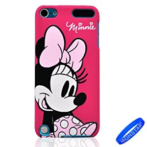 HIGHSTAR Wristband + Stylish Cartoon Minnie Mouse Pattern Hard Cover Case Compatible for Apple Ipod Touch 5/5g/5th Generation(Hot Pink)