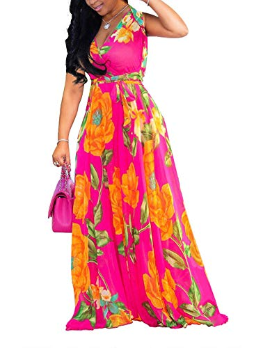 Women's Boho Wrap Maxi Dresses - Elegant Chiffon Belted Floral Long Dresses Belted XX-Large Rose Chiffon