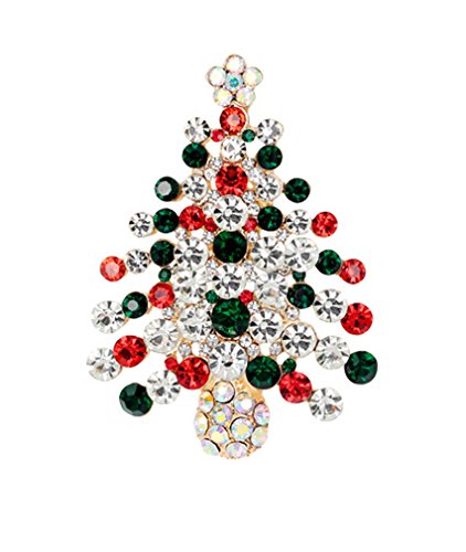 Womens Pin Broaches Christmas Tree Design with Red Green Rhinestones