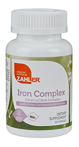 Zahlers Iron Complex, Complete Blood Building Iron Supplement with Ferrochel, Easy on the Stomach Iron Pills with Vitamin C, Optimal Absorption Iron Tablets, Certified Kosher, 100 Capsules