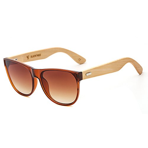 SUERTREE Bamboo Sunglasses Vintage Shades Retro Wooded UV400 Protect Rimless Eyeglasses JH8004 (Brown Frame, Brown ()