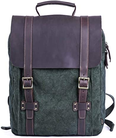 Gootium Tie-Dyed Backpack – Canvas Leather Travel Daypack Vintage Rucksack