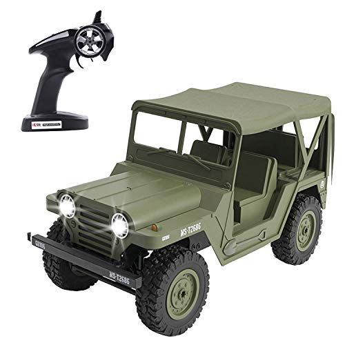 KELIWOW Military Jeep RC Car,1/14 Full Scale Proportion 4WD Off-Road Climbing Truck, 2.4G Army Radio Remote Control Buggy,15KM/h High Speed Rock Crawler for Kids Adults Best Gift Choice-Army Green