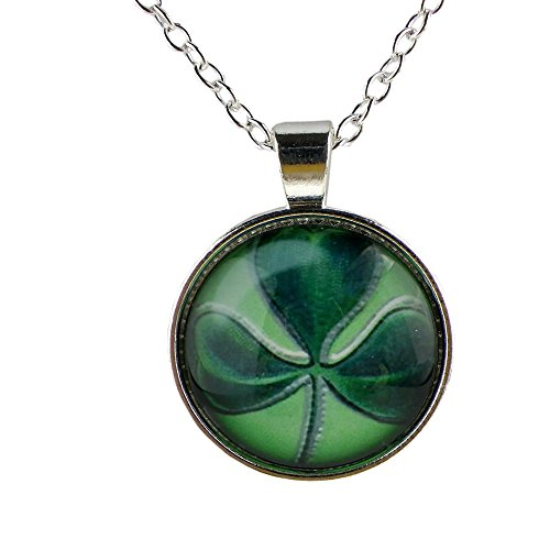 Lucky Shamrock Pendant - Rosemarie Collections Women's Lucky Shamrock Cabochon Charm Pendant Necklace (Silver Tone)