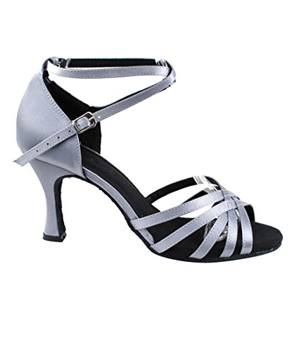 Very Fine Ballroom Latin Tango Salsa Dance Shoes for Women SERA2613 2.5-Inch Heel + Foldable Brush Bundle Grey Satin uH0CsBBWX