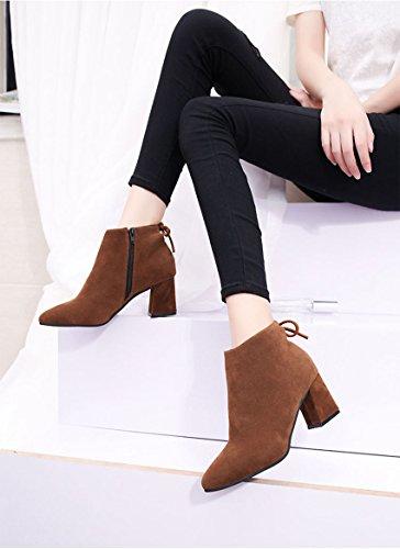 Herbst Casual für Khaki 5 Nubukleder Mode Stiefeletten UK3 35 CN Stiefel Booties Us5 aus 's Schwarz Winter EU36 Frauen Schuhe Khaki 5 QTZS Burgund wax7P1XqI