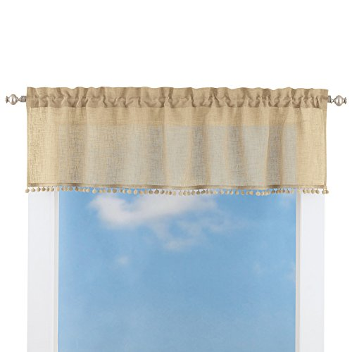 Collections Etc Wallace Pom-Pom Linen-Like Curtain Valance Window Topper, Linen