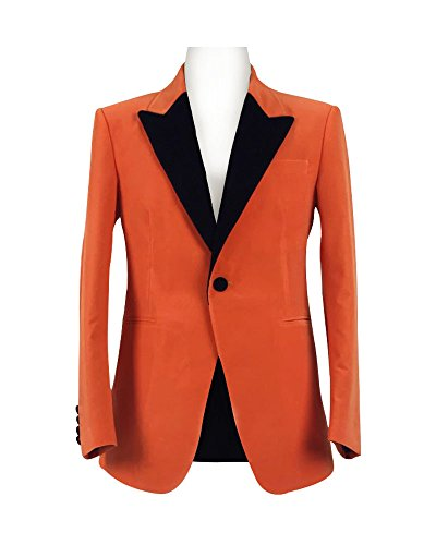 Cosdaddy Men's Orange Faille Trimmed Cotton Velvet Tuxedo Jacket (Custom, Orange) by CosDaddy