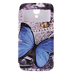 SOL Exquisite Butterflies Pattern Leather Hard Case with Viewable Screen for Samsung Galaxy S4 I9500