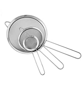 Windspeed Stainless Steel Fine Tea Mesh Strainer Colander Sieve with Handle for Food Rice Vegetable,set of 3
