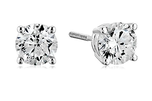 Certified 14k White Gold Diamond with Screw Back and Post Stud Earrings (1 1/2cttw, J-K Color, I1-I2 Clarity) by Amazon Collection
