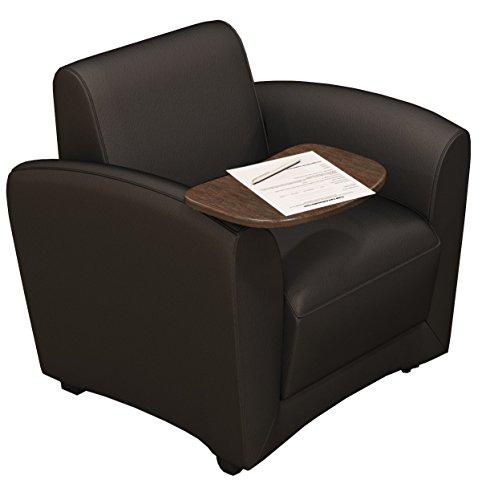 Mayline VCCMTBLK Santa Cruz Mobile Leather Lounge Chair with Tablet, Chestnut Veneer, Black Leather