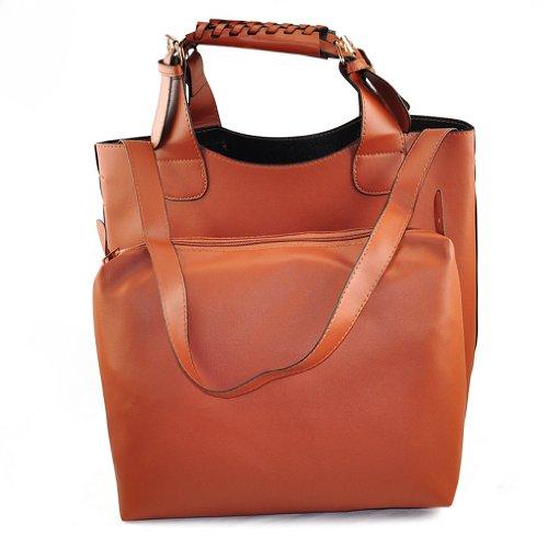 SODIAL Celebrity Womens Marron Bolsa Style Bucket hombro Totes Shopper R trenzado Hobo de Shopping rR1pr
