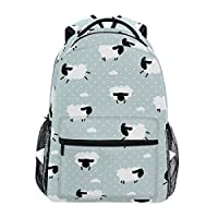 Polka Dot With Sheep And Clouds Backpacks Travel Laptop Daypack School Bags for Teens Men Women