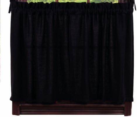 Window Curtain Burlap Black Tier, 24-Inch, Solid, IHF Home Decor