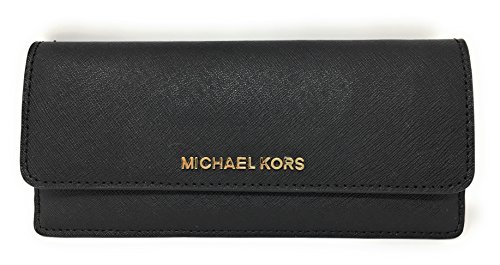 Michael Kors Jet Set Travel Flat Saffiano Leather Wallet (Black with Gold - Kors Michael Flat Black