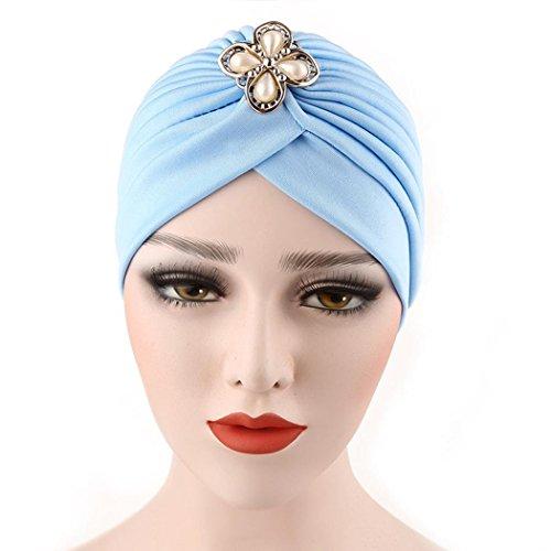 Qingfan Women Girl Diamonds Cancer Chemo Hat Beanie Turban Head Muslim Wrap Cap (Sky - Womens Cancer Cap Month