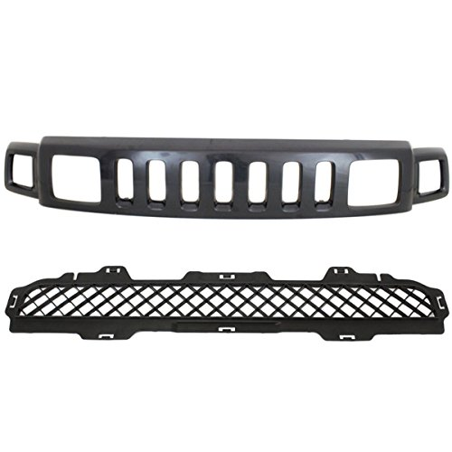 06-10 H3 Front Upper & Lower Grill Grille Assembly 2-Piece SET 25821170 15834195