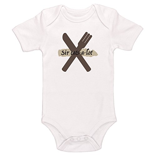 Kinacle Sir Eats-A-Lot Baby Bodysuit (0-3 Months, White) - Lot 2 Bodysuits