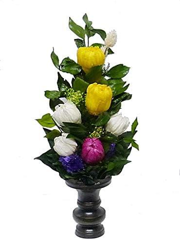 【仏花倶楽部®】のプリザーブドフラワー仏花:B07QCCCK9Y 【size M】(お花はもちろん、葉っぱにいたるまで、造花は一切使用しておりません))