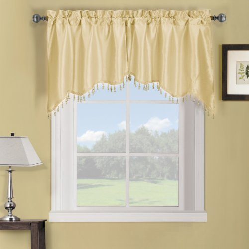 Luxury Soho Ivory Swag Valance, Solid Pattern, 35x30 inches, by Royal Hotel