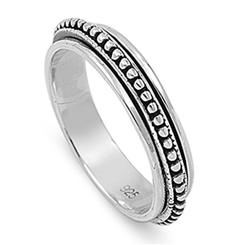 Sterling Silver Women's Spinner Bead Bali Ring (Sizes 6-14) (Ring Size 9)