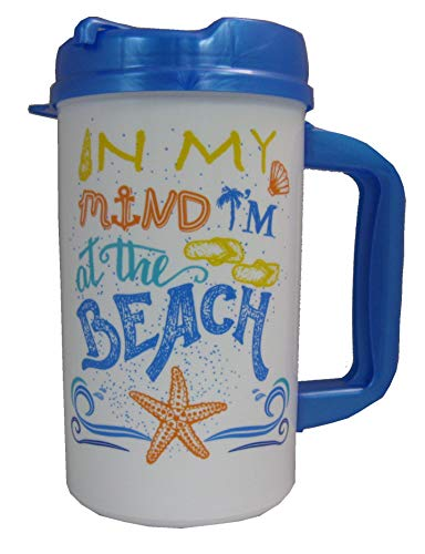 In My Mind I'm At the Beach 32 oz Insulated Travel Mug with Lid (Plastic 32 Mug Oz)