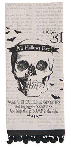 All Hallows Eve Skeleton Skull Halloween Tea Towel with Ball Fringe -