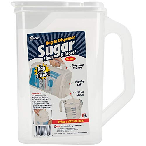 (Buddeez Sugar Keeper & More [Flip-up Pour SPOUT] BPA Free [Easy-Grip Handle] Made in USA)