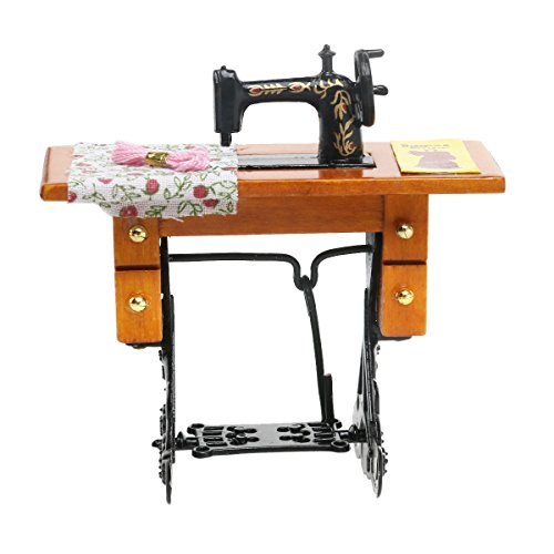 VORCOOL Vintage 1/12 Dollhouse Miniature Decorative Sewing Machine with Cloth Scissors - Machine Ornament