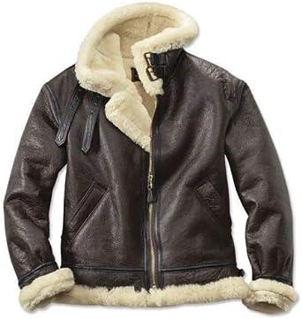 Men Aviator B3 RAF Bomber Flying Brown Shearling Sheepskin Leather Winter Jacket