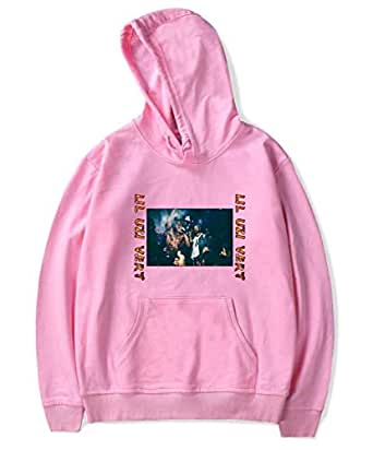 Rapper LIL UZI VERT printing hoodie round neck pullover cotton top casual pink sweatshirt