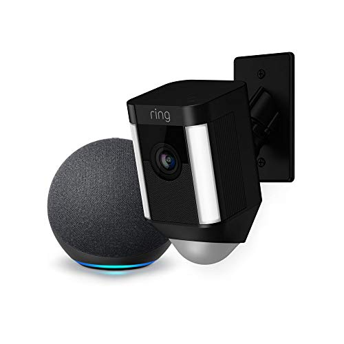 Ring Spotlight Cam Mount Cámara de seguridad HD (negra) y Echo Dot (4.a generación)