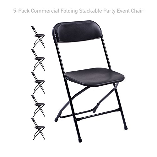 Koonlert@Shop Commercial Lightweight Plastic Folding Stackable Chair Wedding Party Holiday Events Seat Durable Powder-Coated Steel Frame Home Kitchen Office Furniture - Set of 5#1727 Black (Furniture Melbourne Sale)